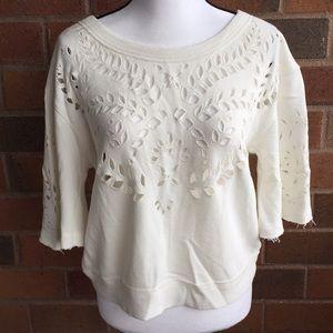 Free people crochet cropped sweatshirt